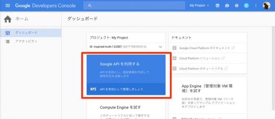 「Google API を利用する」リンク