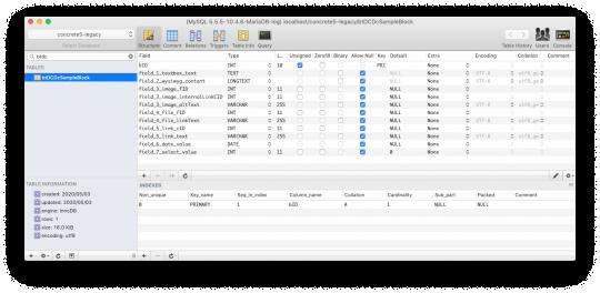 Designer Content によって生成されたテーブル構造のスクリーンショット