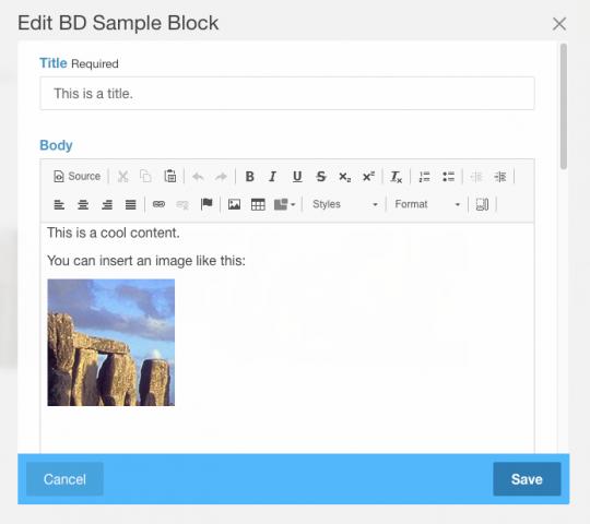 Block Developer で再作成したブロックにコンテンツが移行できた様子のスクリーンショット