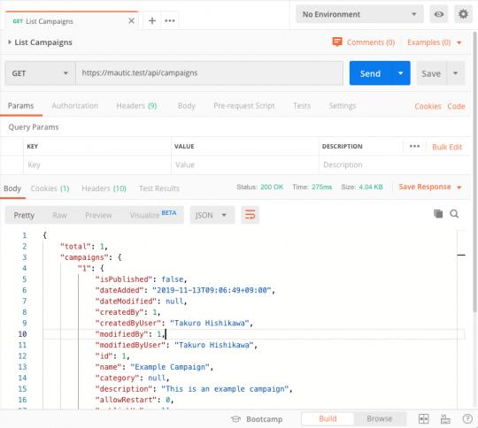 Postmanのスクリーンショット:Mautic APIでキャンペーンの一覧を取得